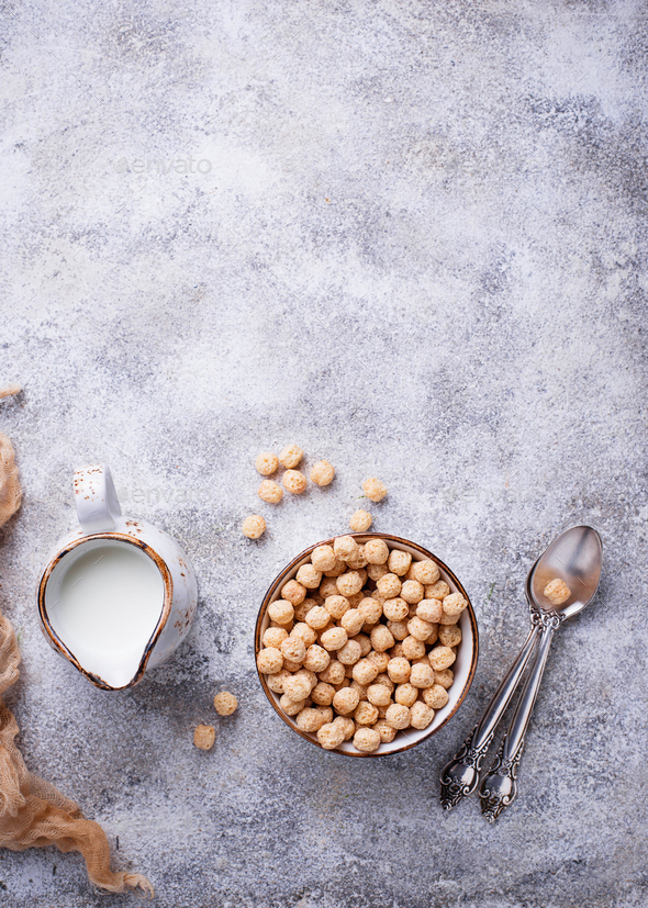 Sweet corn flakes ball for breakfast - Stock Photo - Images