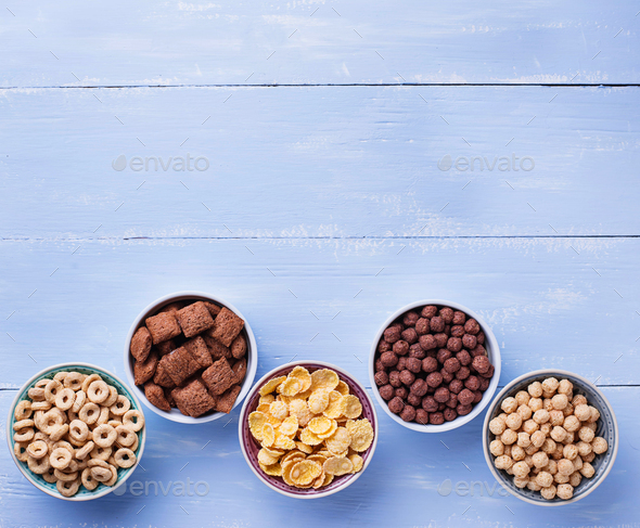 Selection of various corn flakes for breakfast - Stock Photo - Images