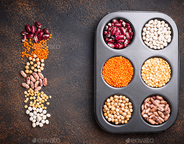 Chickpeas, red lentils, yellow peas and beans. - Stock Photo - Images