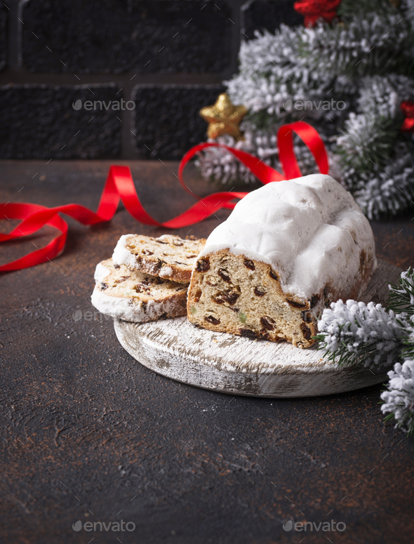 Traditional German Christmas cake stollen - Stock Photo - Images