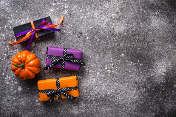 Halloween background with gift box - Stock Photo - Images
