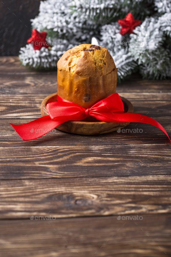 Italian traditional Christmas cake panettone - Stock Photo - Images
