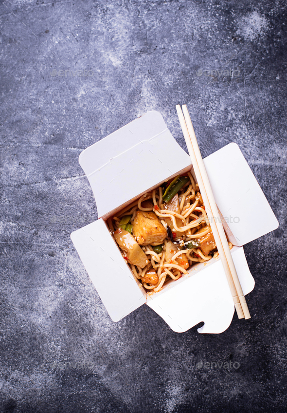 Noodles with tofu and vegetable in box - Stock Photo - Images