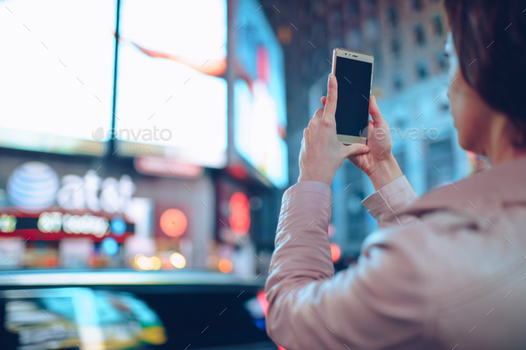 Young girl in Times Square - Stock Photo - Images