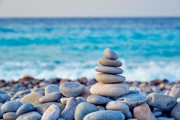 Zen balanced stones stack on beach - Stock Photo - Images