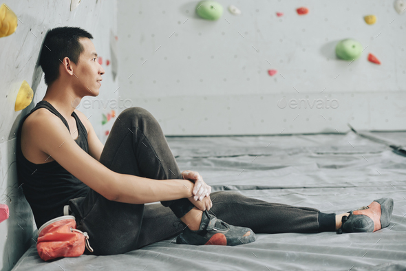 Smiling climber resting - Stock Photo - Images