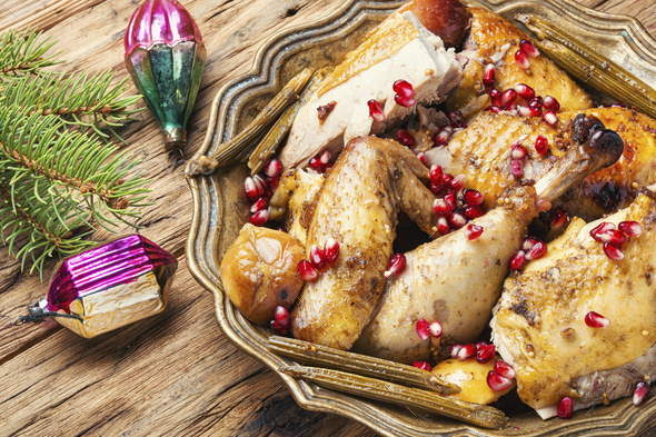 Baked turkey or chicken - Stock Photo - Images