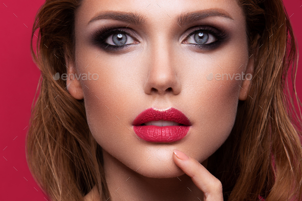 Portrait of beautiful girl with pink lips - Stock Photo - Images