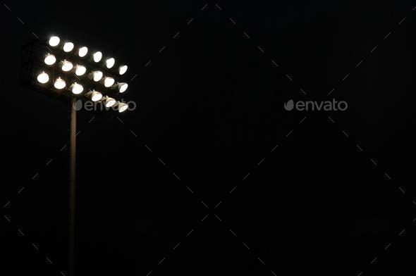 Sports Stadium Lights At Night - Stock Photo - Images