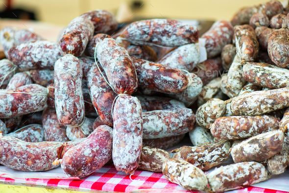 Two different kind of salami - Stock Photo - Images