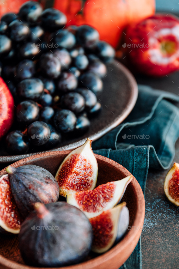 Autumn food still life with season fruits and vegetables - Stock Photo - Images