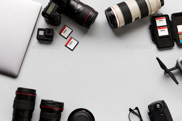 Flat Lay Shot Of Techno Items For Traveller With Smartwatch Mobile Phone And Wireless Headphones - Stock Photo - Images