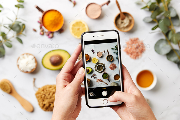Woman Photographing Group Of Natural Beauty And Health Products - Stock Photo - Images