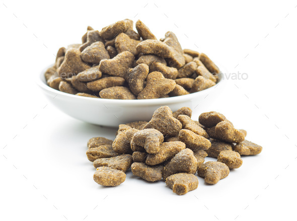 Dry kibble pet food. Kibble for dog or cat. - Stock Photo - Images