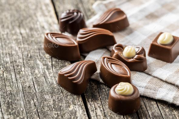 Various chocolate pralines - Stock Photo - Images