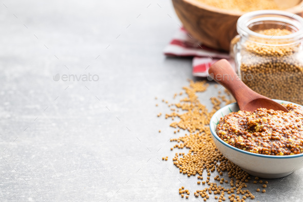 Whole grain mustard - Stock Photo - Images