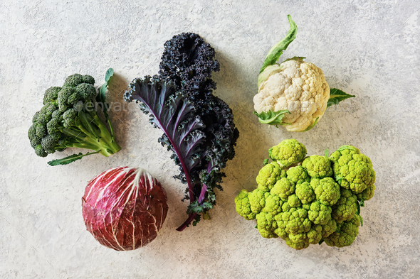 Cabbage of different varieties on a light background, cauliflower, radicchio, broccoli, Kale - Stock Photo - Images