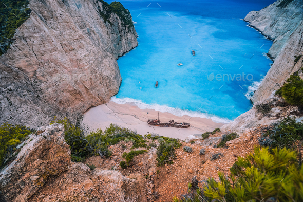 Navagio Shipwreck Beach on Zakynthos island, Greece. Famous attraction landmark must-see place visit - Stock Photo - Images
