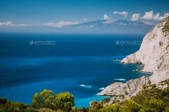 Zakynthos steep coastline, limestone cliffs on the western part of island. Greece - Stock Photo - Images
