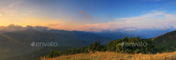 Pahorama of the Sunset on the mountains - Stock Photo - Images