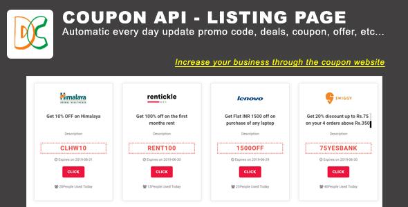 Coupon API - Listing Bootstrap 4