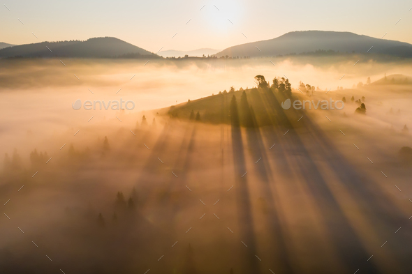 Misty dawn in the mountains. Beautiful landscape - Stock Photo - Images
