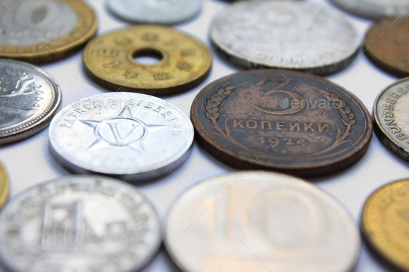 Coins from different countries - Stock Photo - Images