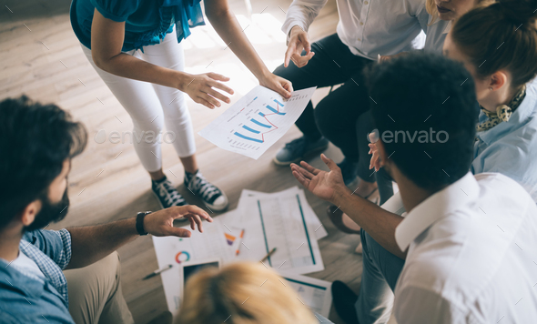 Group of business people and designers.They working on new project.Startup concept - Stock Photo - Images