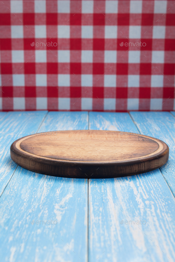pizza cutting board and napkin tablecloth - Stock Photo - Images