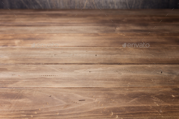 empty wooden table in front - Stock Photo - Images