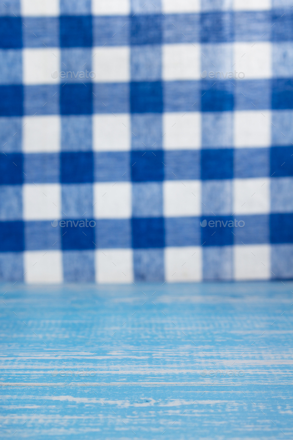 rustic wooden table in front and cloth napkin - Stock Photo - Images