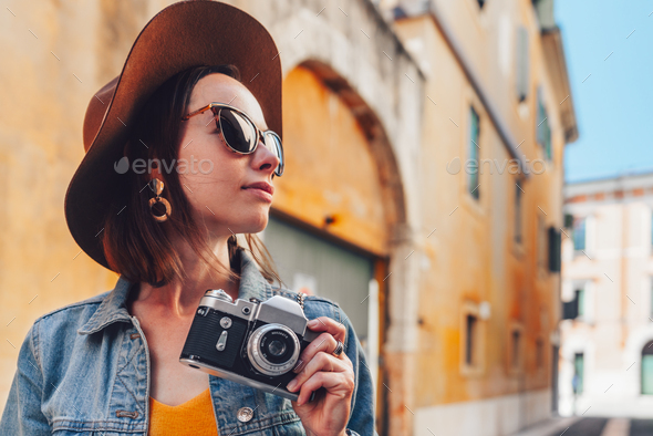 Attractive photographer in Italy - Stock Photo - Images
