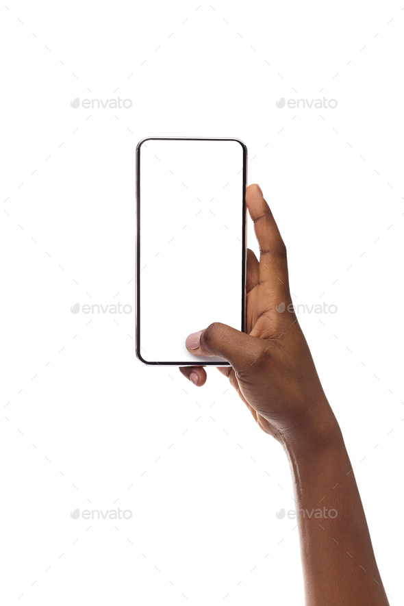 Mockup Image Of Smartphone With Blank Screen In Woman's Hand - Stock Photo - Images