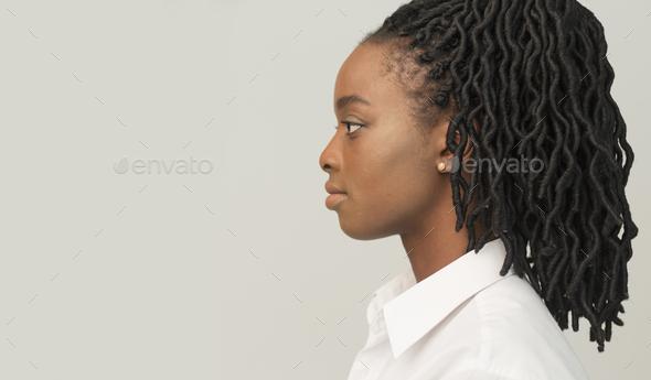 Profile Portrait Of Black Businesswoman, Studio Shot - Stock Photo - Images