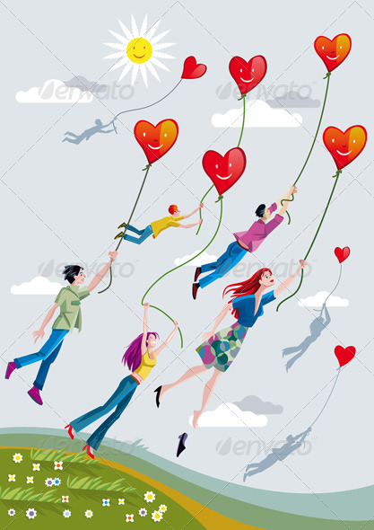People Flying With Hearts - Valentines Seasons/Holidays