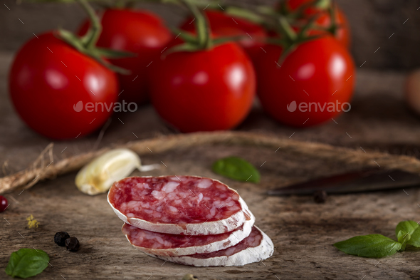 Italian salami slices - Stock Photo - Images