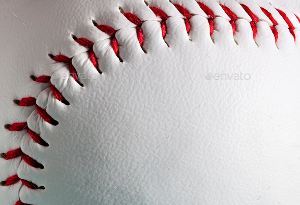 Macro of new baseball ball with copy space. - Stock Photo - Images