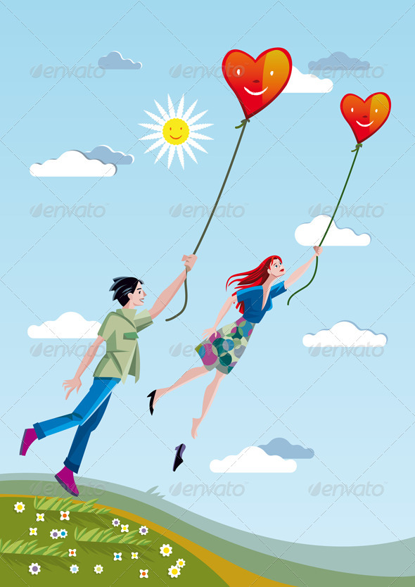 Man And Woman Flying With Hearts - Valentines Seasons/Holidays