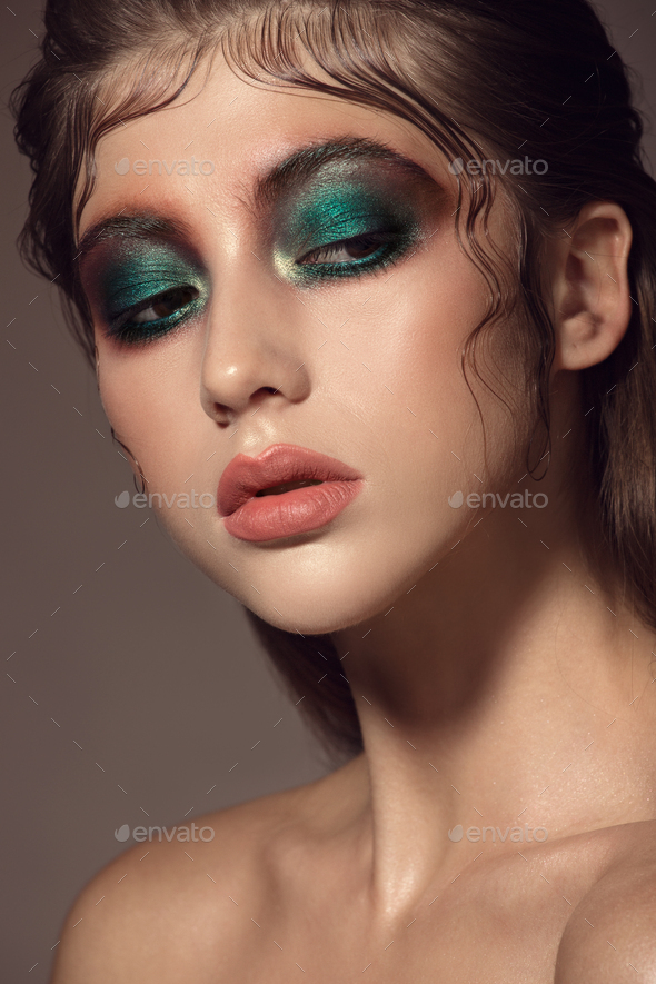 Close Up Portrait Of Beautiful Woman Face With Bright Make Up - Stock Photo - Images