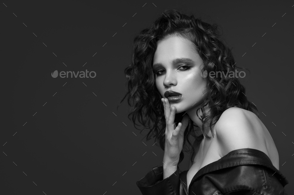 Fashion Portrait Of Young Woman. Black And White Image. - Stock Photo - Images