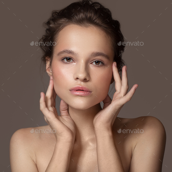 Fashion Portrait Of Beautiful Woman. Clear Natural Skin. - Stock Photo - Images
