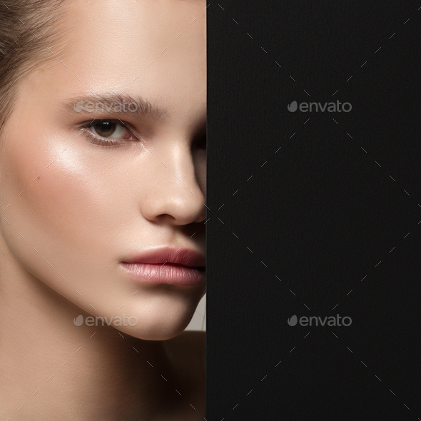 Close Up Fashion Portrait Of Beautiful Woman. Clear Natural Skin - Stock Photo - Images