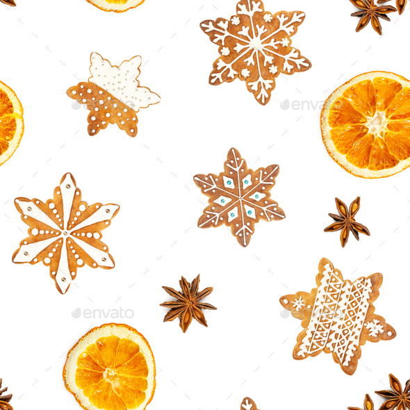 Seamless pattern with Christmas gingerbread cookies in the shape of snowflakes and dried oranges - Stock Photo - Images