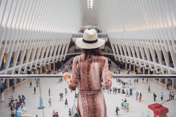 Young woman in the Oculus in NYC - Stock Photo - Images