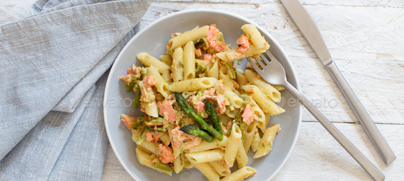 Asparagus and Salmon Penne Pasta - Stock Photo - Images