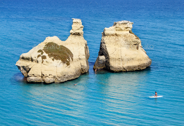 Torre dell'Orso beach with Two Sisters stacks - Stock Photo - Images