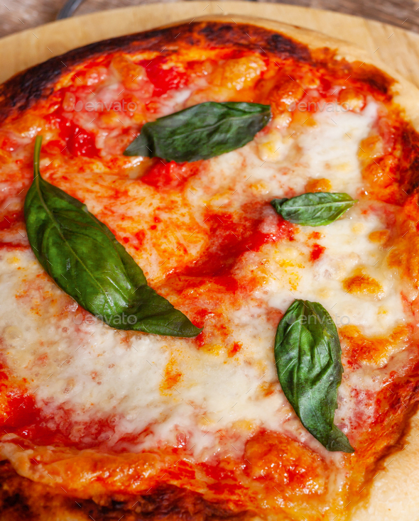 Fresh Homemade Italian Pizza Margherita with basil - Stock Photo - Images