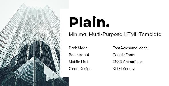 Plain - Minimal Multi-Purpose HTML Template by davidtovt