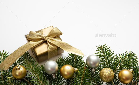 Christmas gift and decoration on white color background - Stock Photo - Images
