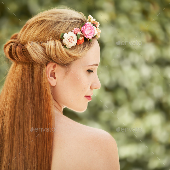 Portrait Of Beautiful Woman. Flowers Hairstyle. - Stock Photo - Images